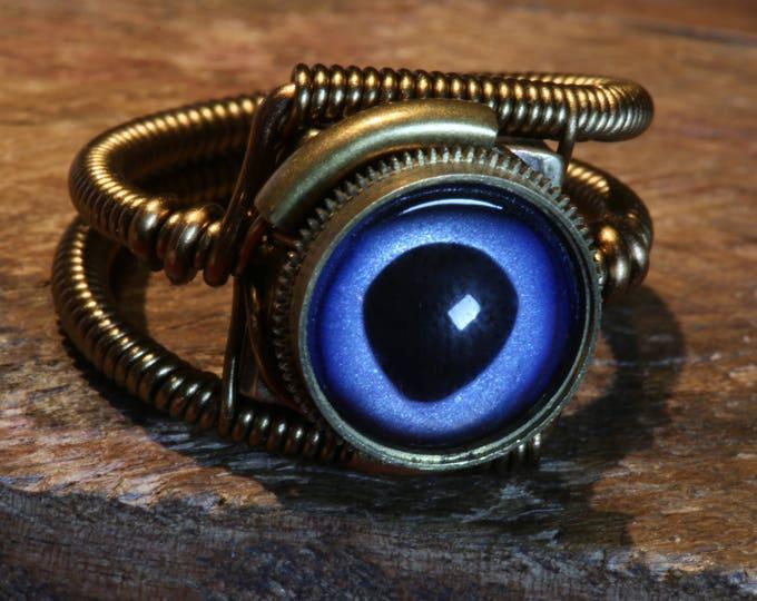 Steampunk ring, Marlin eyeball ring, Taxidermy glass eye, Antique bronze, hand-painted glass eye, Marlin fish eye, Steampunk Jewelry,dnd