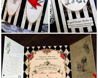 Elegant Alice in Wonderland invitation. Mad Hatter tea party wedding invitation. Alice Sweet sixteen invites. Queen of hearts invitations.