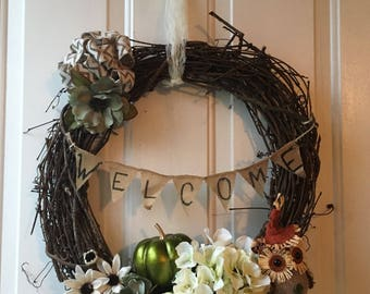 Simple Fall welcome wreath