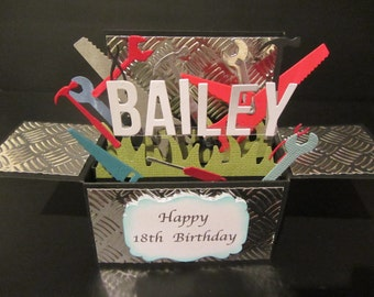 3D Handmade card in a box -toolbox, PERSONALISED