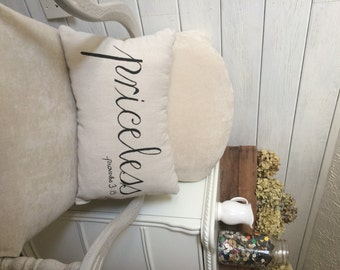 Painted Fully Stuffed Throw Pillow Front Porch Pillow Couch Pillow Bedding Decorative Pillow Neutral Color Pillow Shabby Chic Rustic