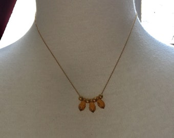 Gold topaz Swarovski crystal necklace.