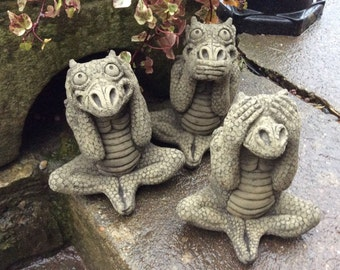 Stone 3 wise dragons garden ornaments see hear and speak no evil mythical collection