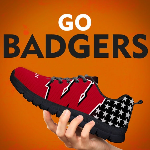 Sizes Gift Black Collector Trainers Womens Gift Running Custom Football Sneakers White Gift Shoes Mens Wisconsin Kids Badgers Wqnv6a68