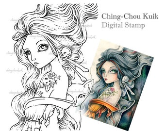 Bones Imprint - Digital Stamp Instant Download / Fantasy Art by Ching-Chou Kuik