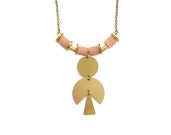 Pink Sea Glass Statement Necklace, Geometric Gold Circle Necklace, Sea Glass Jewelry, Salmon Pink Beach Glass Necklace, Bohemian Modern