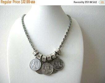 Vendita Replica etnico rustico Vintage monete d'argento collana in metallo tono 9517