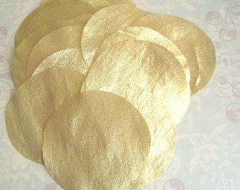 30 pcs 3 inches Hand cut Fabric Circles - Golden Yellow - Gold Metallic Tissue Lame Fabric