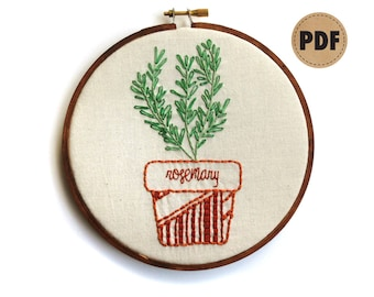 Rosemary Plant Embroidery Pattern, Botanical Embroidery Hoop Art, Plant Lover, Kitchen Wall Decor, Herb Garden Wall Hanging, PDF Download