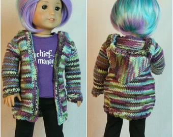"""American Made for Girl Doll, Hand Knit Sweater,  Sweater,  18"""" doll clothes, Hand Knit Clothes, Spring Sweater, Doll Sweater, Hoodie"""