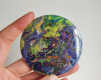 Acrylic Pouring. Fridge Magnet. Fluid Art. Abstract Art. Gift For Her. Gift For Him. Psychedelic Abstract Painting. Refrigerator Magnet.
