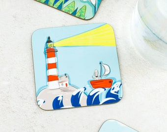 Coastal Gift - House Warming Gift - Lighthouse Coaster - Sail boat Gift - Doggy Gift - Gift For Women - Seaside Gift - Boating coaster