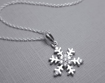 Snowflake Necklace, Sterling Silver Snowflake Necklace, Gift for Her, Flower Girl Necklace, Bridesmaid Necklace, Winter Necklace