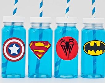 40  Superhero Milk Bottles, Plastic Milk Bottles, Superhero Party Drink Bottles, Superhero Party Bottles GS001