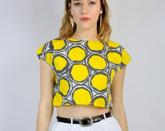 Bright yellow and charcoal graphic print cap sleeve crop top UPCYCLED MADE to ORDER