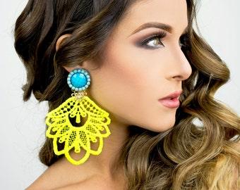 Chandelier Earrings, Long Neon Earrings, Dangle Earrings, Fashion Earrings, Statement Earrings,Boho Jewelry,Tatted,Lace Jewelry,Neon Jewelry