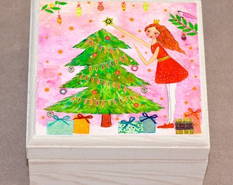 Christmas Tree Jewelry Box Trinket Box Christmas Gift Box