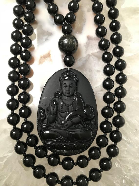 Black Tourmaline and Obsidian Mala/Prayer Beads