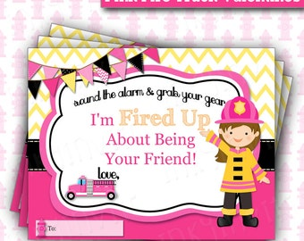 Pink Girl Fire Truck Valentine's Day Cards  | Firefighter Valentine's | Kids Valentine Cards