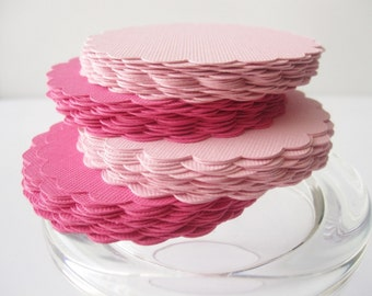 18 scalloped circles (3.5 Inches) Choose 2 colors  A264