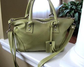 Green leather hobo bag, Lime green leather bag, rectangle shaped bag, Shoulder tote, Messenger bag, handheld purse, classic leather bag