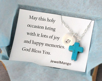 Cross charm necklace, Confirmation, First Communion Gift, Baptism Gift,Initial Necklace Cross charm message,note,Initial Necklace, turquoise