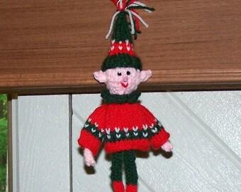 Hand knit elf ornament