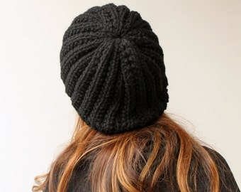 Clothing Gift. Outdoor Gift. Women Knit Hat Winter Hat Slouchy Beanie Hat Black Beret Chunky Baggy Hat