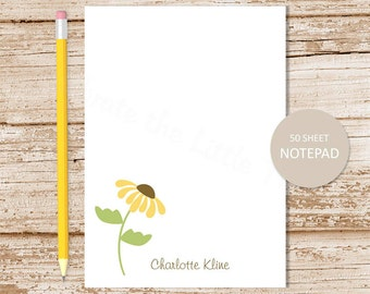 personalized notepad . brown eyed susan notepad . flower note pad . floral stationery . botanical stationary