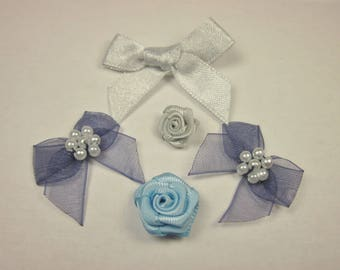 5 bows in fabric with pattern 10 x 34 mm approx - (E34