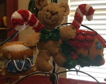 Teddy Bear, Drum, Gingerbread House and Candy Cane Felt Ornament