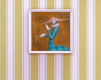 Pierrot Clown Painting - Whimsical Lady Harlequin Original Acrylic Painting - Bronze and Blue Colors - Harlequin Art - Whimsical Art