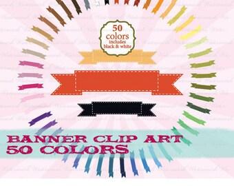 Banner clip art clipart, ribbon clip art, tag clipart, photo ribbon scrapbook 50 colors: c0098 v301