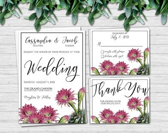 Cactus Wedding Invitation Suite - Floral Wedding Invitations - Matching RSVP and Thank You Cards | southwest desert flower succulent invites