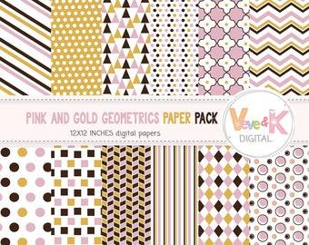 Geometric Digital Paper, Digital Scrapbook Paper, Geometric Paper Pack, Pink, Gold, Brown, Geometric Background, Commercial Use / DP001