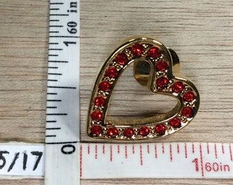 Vintage Avon Gold Toned Red Rhinestone Pin Brooch Used