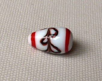 Pearl White ceramic with red patterns