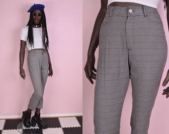 90s Black Blue and White Houndstooth High Waisted Trousers/ US 3-4/ 1990s