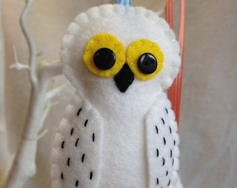 Snowy Owl - Wool Felt - Hanging Decoration - (Hedwig)
