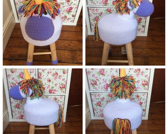Unicorn crochet stool cover. stool included