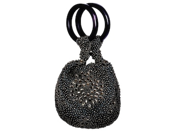 Night Bloom Black Bangle Bag