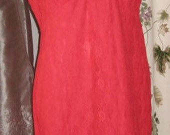 50s Red Nylon Lace Slip with Floral Applique - Lingerie Medium - Large Vintage