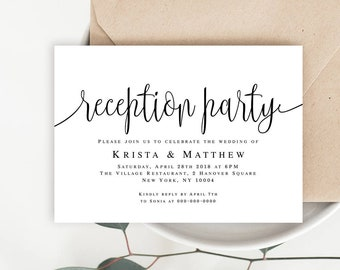 Reception party invitation template Wedding reception invitation Editable invitation template Rustic wedding reception decorations #vm41