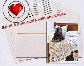 Bed Sitter Gordon Setter Note Card Set