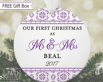 Our First Christmas as Mr & Mrs Ornament First Christmas Married Personalized Newlywed Ornament Wedding Gift Crystalline Pattern Item#OR1712