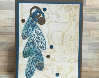 Handmade card, Native American, tribal, greeting card, all occasion card, feathers