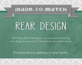 Customized Rear Design for any invite - Add-on