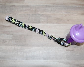 Sippy Cup Strap Green and Lilac Floral on Black -Ready to Ship