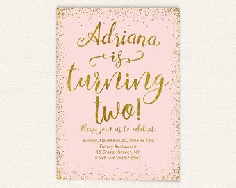 Pink gold birthday, 2nd birthday, birthday invitation, pink and gold, birthday party, printable invitation, birthday girl, girls birthday 12