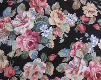"Shabby Floral Home Decor Fabric Yardage Black with Colored Roses 4 Yards by 48"" W  Peter Pan Fabrics 4 Yds Avail Sold by the yard"